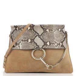 Faye Shoulder Bag Python and Suede Medium