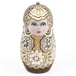 Judith Leiber Nesting Doll Brown Crystal Minaudiere Clutch