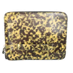 Emporio Armani Olive Camouflage Patent Leather Ipad Case