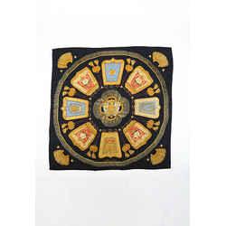 Hermes Poste et Caralerie Black Multicolor Silk Scarf