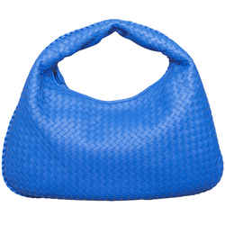 Bottega Veneta Intrecciato Nappa Royal Blue Leather Large Hobo