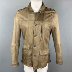 Neil Barrett Size 40 Taupe Leather Buttoned Epaulet Jacket
