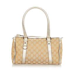 Tan Gucci Abbey GG Canvas Boston Bag