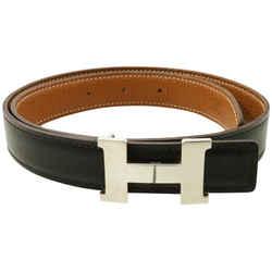 Hermes 24mm Reversible H Logo Belt Kit Black x Silver 861381