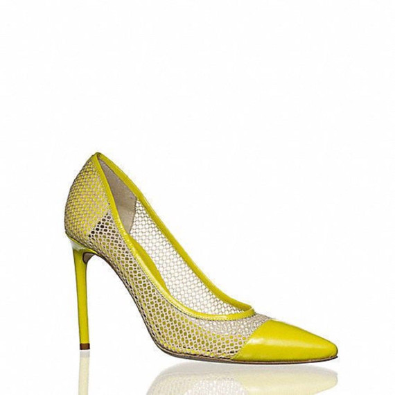 """$700 Reed Krakoff Yellow """"mesh Academy"""" Patent Leather Pumps Sz 9.5 Euro 39.5"""