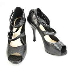 "Dior: Black, Leather ""python"" Peep-toe Heels/pumps Sz: 9.5m"