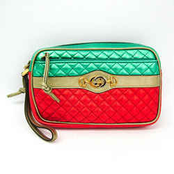 Gucci Laminate Quilting 540985 Women's Leather Clutch Bag Gold,green,re Bf512036