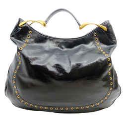 Alexander McQueen Black Patent Leather and Gold Grommet Handbag