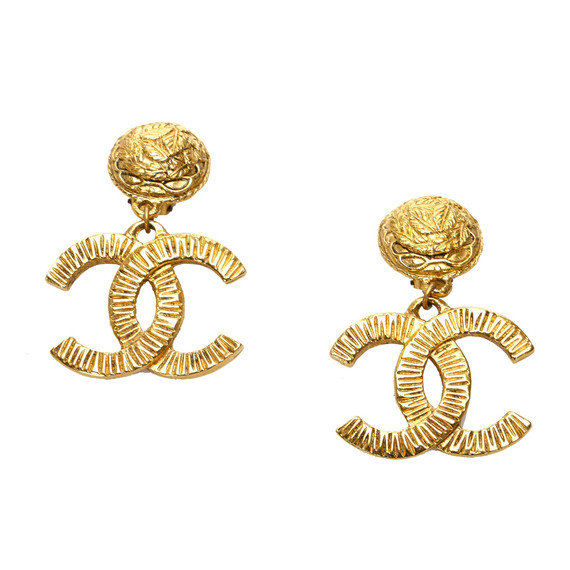 Vintage Authentic Chanel Gold Brass Metal CC Drop Earrings France w/ Box