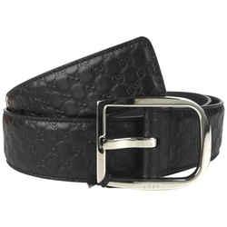 New Gucci Black Leather Gg Guccissima Signature Belt Size 90