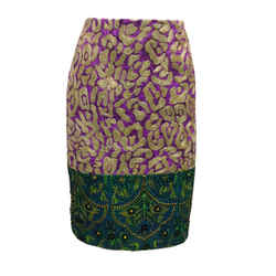 Oscar de la Renta Gold Metallic Embroidered Purple & Green Skirt