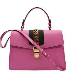 GUCCI  Sylvie Medium Web Smooth Leather Top Handle Shoulder Bag Pink 431665