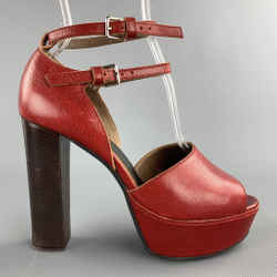 MARNI Size 8 Red Leather Peep Toe Double Strap Pumps