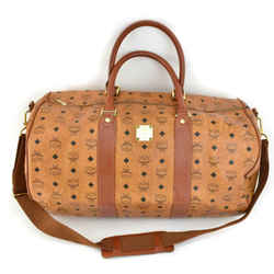 "MCM ""Munchen"": Cognac, Leather & Logo Large Duffel/Weekender (mv)"