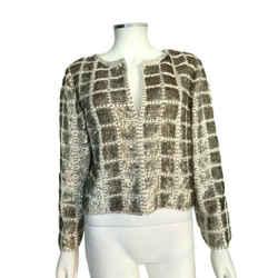 Oscar De La Renta White Shell Sequin Embellished Pattern Jacket Size 12
