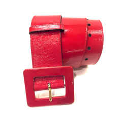 YVES St. LAURENT - YSL - Red patent Leather Mogul Buckle Wide Waist Belt