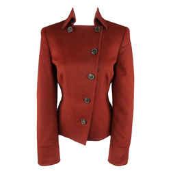 Akris Size 10 Burgundy Double Breasted Collared Wool / Angora Jacket