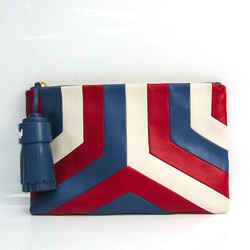Anya Hindmarch GEORGIANA ARCADE STRIPE Women's Leather Clutch Bag Blue, BF519786