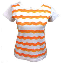 Courreges Paris  Vintage White/orange Wave-print Cotton Short-sleeve Knit Top Size: 8