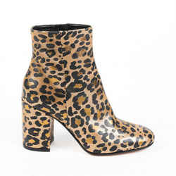 pre-owned Gianvito Rossi Boots Rolling 85 Gold Animal Print Ankle SZ 35.5