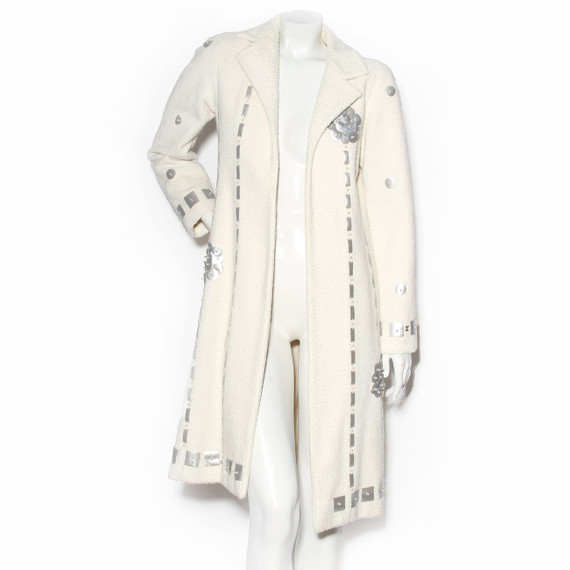 Chanel Ivory Overcoat With Matte Silver Paillettes Fw2000
