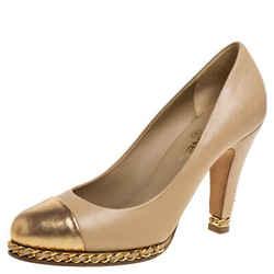 Chanel Beige/Metallic Gold Leather Cap Toe Chain Platform Pumps Size 40