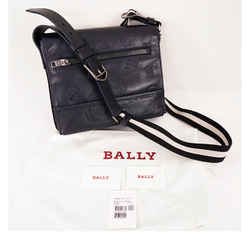 NEW $725 BALLY Tamrac Blue LEATHER EMBOSSED Travel STAMPED MESSENGER Bag
