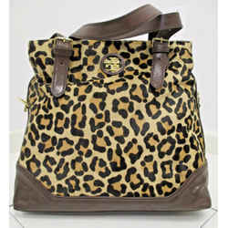 1tory Burch Leopard Calf Hair City Zip Tote W/ Brown Leather Straps - Nwt $695