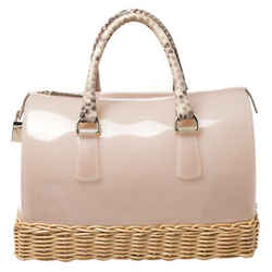 Furla Pink/Beige Glossy Rubber and Rattan Candy Satchel Bag