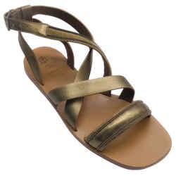 Brunello Cucinelli Bronze Metallic Leather Monili Sandals