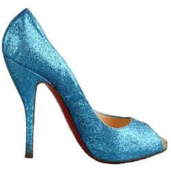 Christian Louboutin Peep Toe Glitter Pumps Blue Size 8.5 Authenticity Guaranteed