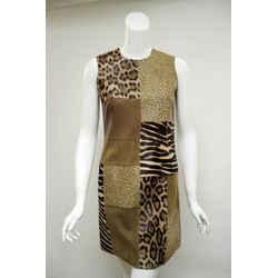 MICHAEL  KORS Animal-Print Calf Hair Leather & Suede Patchwork Sleeveless Dress