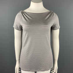 ARMANI COLLEZIONI Size L Gray Stripe Textured Boat Neck T-shirt