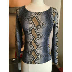 Roberto Cavalli Size S Blue Gray Animal Print Casual Top -2400-747-12119
