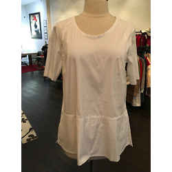 Piazza Sempione Size S/m White Stretch Cotton Trapeze Shirt - 1-335-7219