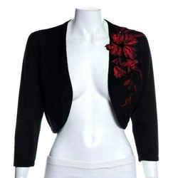 Oscar De La Renta Black Red Floral Open Cropped Knit Cardigan Shrug Sweater Sz S