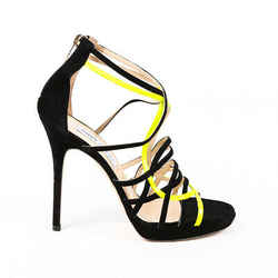Jimmy Choo Sandals Black Yellow Suede Cage Strap Stiletto SZ 38