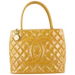 Chanel Burnt Orange Quilted Patent Medallion Tote Bag 575cas614