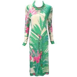 1960s Leonard Paris Botanical Print Silk Jersey Knit Dress
