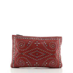 Zip Pouch Grommet Embellished Leather Medium