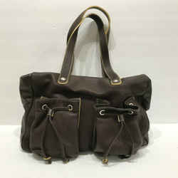 Furla Brown Leather Tote Bag Satchel Handbag Purse Double Drawstring Pockets