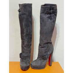 Christian Louboutin Red Bottoms Suede Platform Heel Knee High Boots
