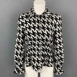 ARMANI COLLEZIONI Size S Black & White Textured Peplum Jacket