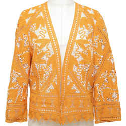 TORY BURCH Jacket Cardigan Crochet KERRY Orange White Long Sleeve Sz 8