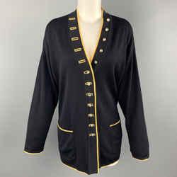 Escada Size 8 Navy & Yellow Wool Blend Knit Ab Button Cardigan