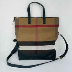 Burberry Original Beige Black Canvas Check Armley Folding Messenger Bag 40202341