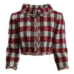 Chanel Red / White Plaid Zip Front Blazer