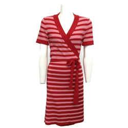 Sonia Rykiel Red/Pink Rogue Striped Wrap Short Casual Dress