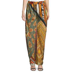 Chloe Orange Mixed Print Silk Pants