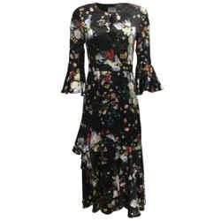 ERDEM Black Multi Florence Floral Printed Silk Cocktail Dress